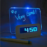 LED часы с подсветкой, с доской для рисования и маркером для надписей