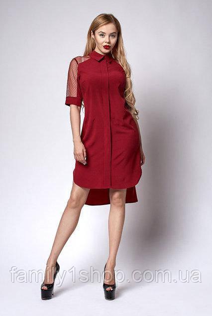 3c267bf29c1 Женское летнее платье-рубашка с удлиненной спинкой и сеточным коротким  рукавом. - Familyshop в