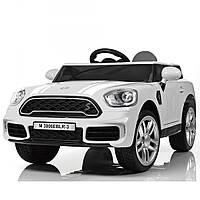 Детский 2-моторный электромобиль Mini Cooper с кожаным сиденьем, белый