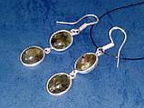 Лабрадор. Серьги с камнем лабрадор в серебре., фото 4