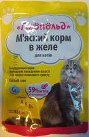 Консервы для котов Леопольд с мясом говядины в желе для выведения шерсти ,85 грамм, 24 шт. в уп.