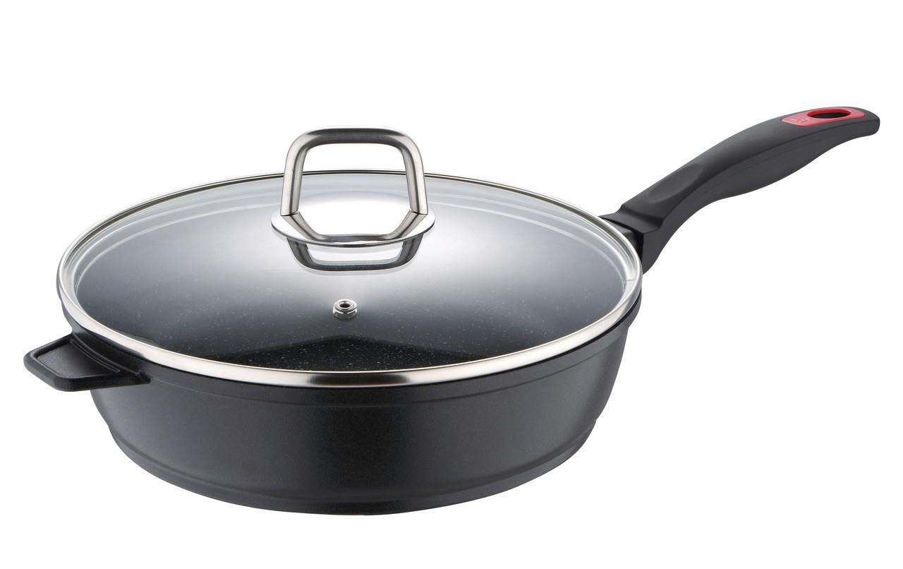 Глубокая сковорода с крышкой 24X6см Bergner BG-8272-BK