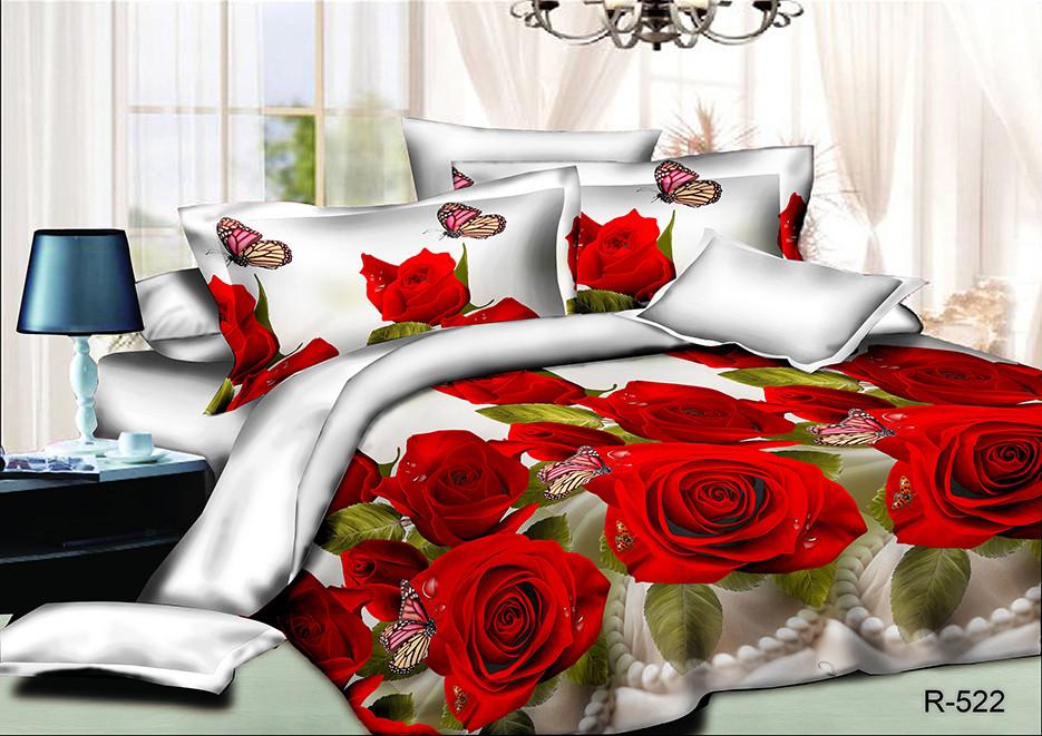 Постельный комплект Красные розы из ранфорса 3D