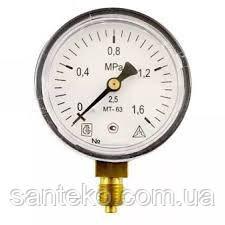 Манометр МТ-100 резьбаМ1/2 (давление 0.4-2.5 МПа)