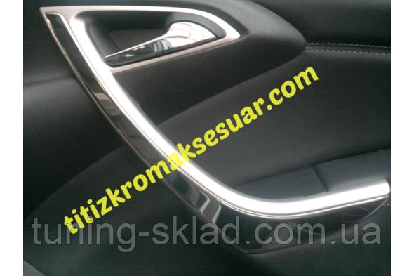 Хром накладки на передние двери Opel Astra J 2010  (Опель Астра)