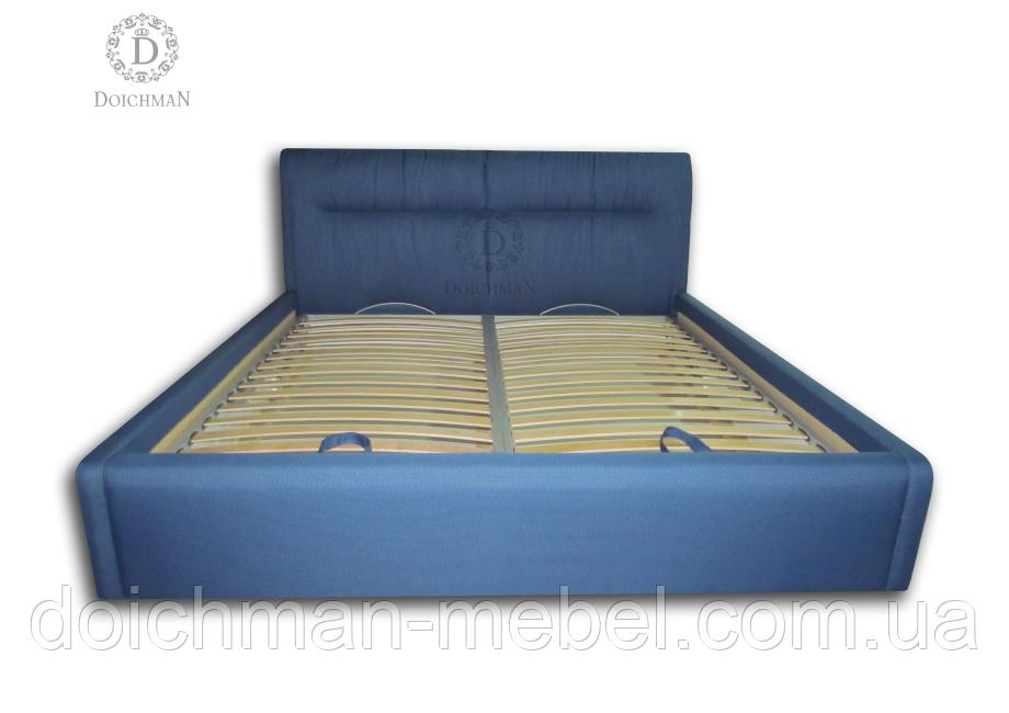 Кровать с мягким изголовьем на ламелях на заказ