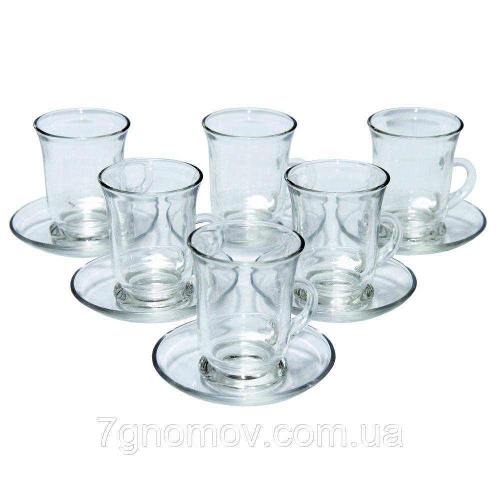 Набор чайный стеклянный на 6 чашек с блюдцами Амур 100 мл
