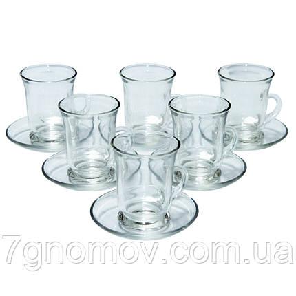 Набор чайный стеклянный на 6 чашек с блюдцами Амур 100 мл, фото 2