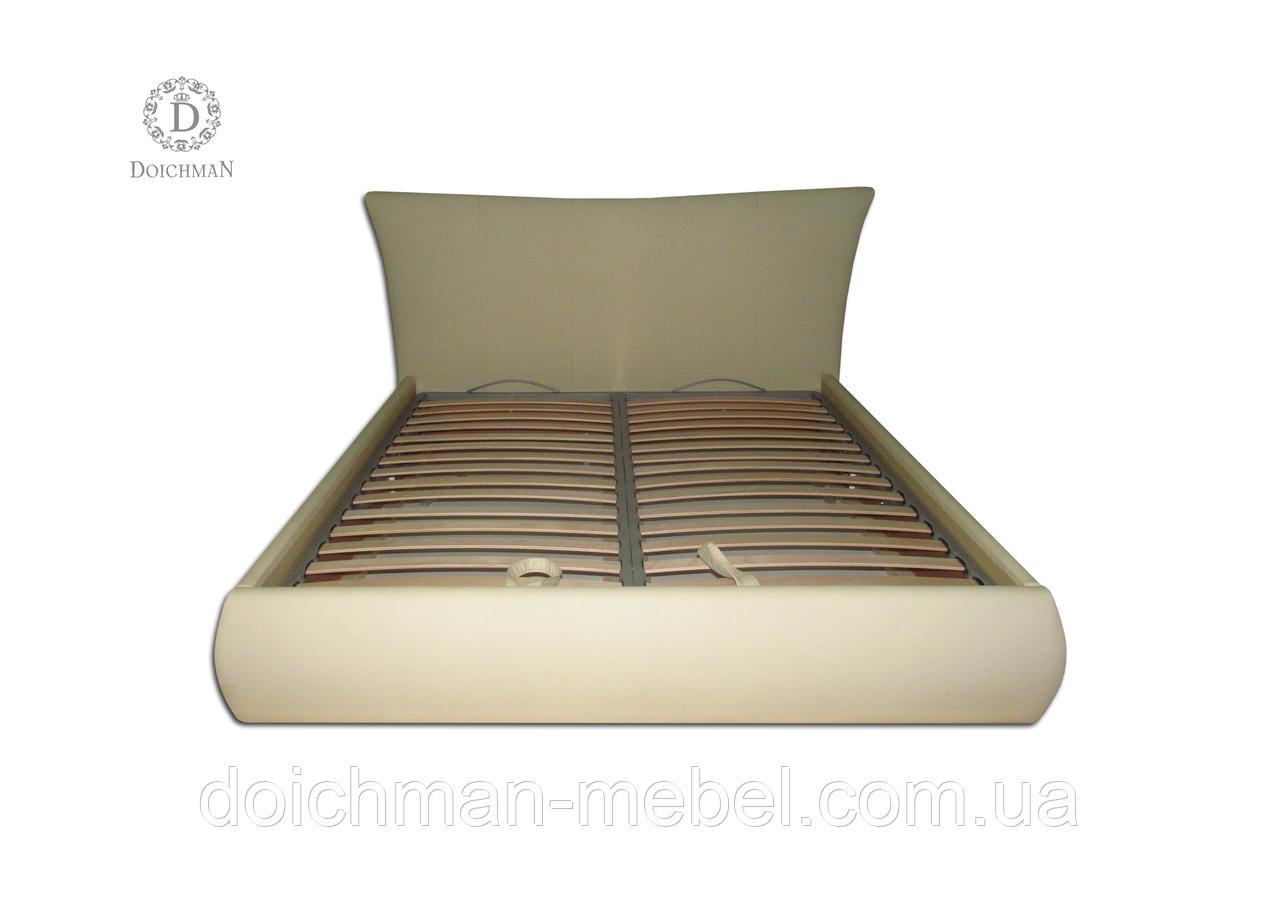 Кровать двуспальная с мягким изголовьем по индивидуальному дизайну на заказ в Украине