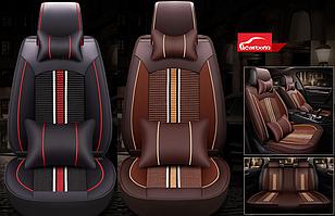 Чехлы Icarcoom на передние и задние сиденья Audi A4 - экокожа + ткань