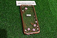 Силиконовый бампер для IPhone 7 Цветы со стразами