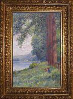 Картина Пейзаж с детьми у озера E. Verdyen 1902 год Франция