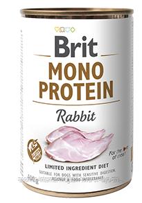 Влажный корм Brit Mono Protein Rabbit 10/7 (кролик для взрослых собак), 400 гр