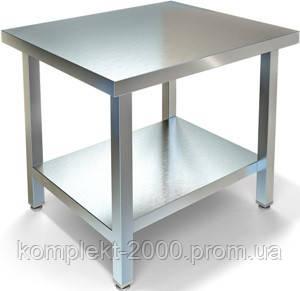 Кондитерский кухонный стол без борта с полкой