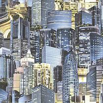 Обои для стены шпалери місто синій паперові город голубой бумажные 0,53*10м, фото 3