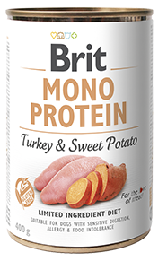 Влажный корм Brit Mono Protein Turkey & Sweet Potato 10/7 (индейка со сладким картофелем для взрослых собак), 400 гр
