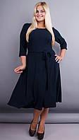 Кора. Элегантное платье плюс сайз. Синий., фото 1