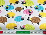 "Отрез ткани ""Разноцветные овечки"" на белом фоне, № 1415а размер 52*160, фото 2"