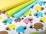 "Отрез ткани ""Разноцветные овечки"" на белом фоне, № 1415а размер 52*160, фото 3"