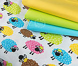 "Отрез ткани ""Разноцветные овечки"" на белом фоне, № 1415а размер 52*160, фото 4"
