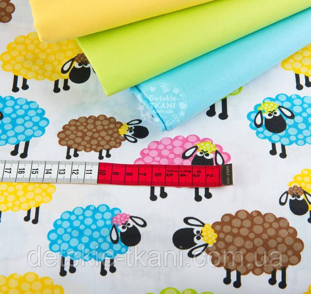 Хлопковая ткань с цветными овечками
