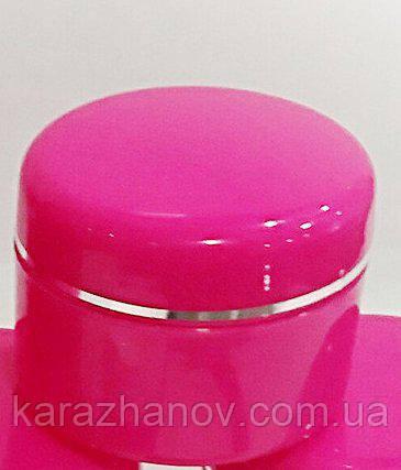 Баночка 15мл пластиковая под крем для косметики  (с серебряной полоской) Малиновая