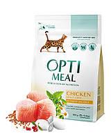 Сухой корм для котов Optimeal (Оптимил) курица 10 кг + 24 пауча в подарок (телятина-клюква)