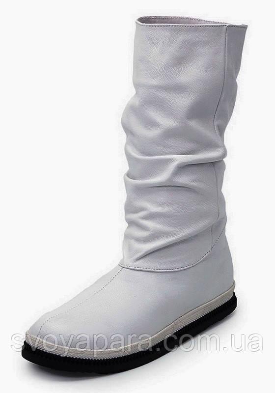 Сапоги женские зимние белые кожаные с шерстяной подкладкой на плоской подошве