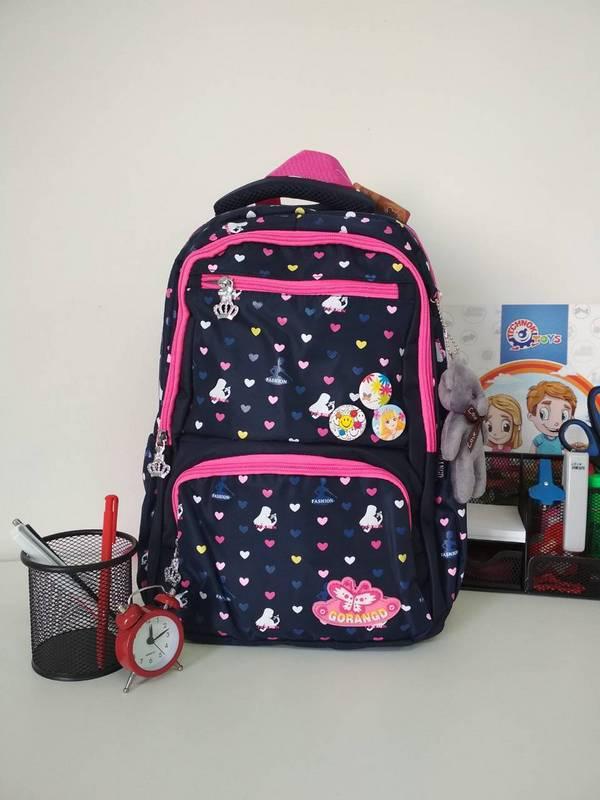 Рюкзак для девочки 1-4 класс с принтом сердечки 40*25*17 см