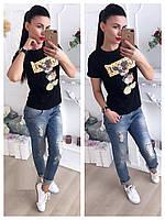 Модная футболка с накаткой в виде Микки Мауса и надписью Gucci 42-46 р