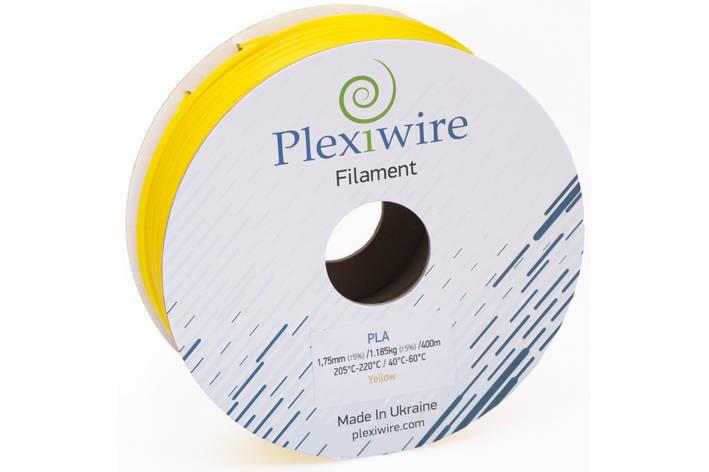 Пластик в котушці PLA 1,75 мм 1,185кг/400м Plexiwire Жовтий, фото 2