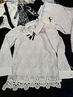 Блуза  школьная кружевная с длинным рукавом для девочки оптом
