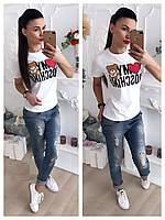 Женская футболка с накаткой в виде мишки и надписи с сердцем42-46 р