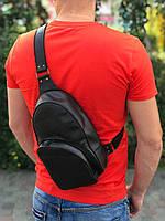 Мужская кожаная сумка-рюкзак через плечо   Кофе