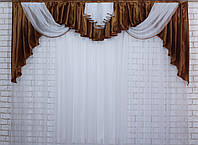 Ламбрекен из атласа 2.5 метра №47 Цвет коричневый, фото 1