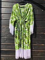 Женская красивая пляжная накидка с пальмовыми листьями , фото 1