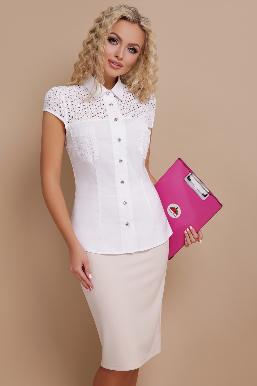 4ea836e4122 Купить Летняя белая хлопковая приталенная блузка со вставками из ...