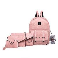 Набор 4в1 рюкзак + клатч, кошелёк и визитница розовый экокожа, фото 1