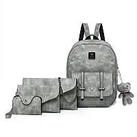 Набор 4в1 рюкзак + клатч, кошелёк и визитница серый экокожа опт, фото 1