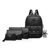 Набор 4 в 1 рюкзак + клатч, кошелёк и визитница, экокожа, черный