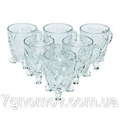Набор стеклянный 6 чашек с блюдцами Фигурный 150 мл