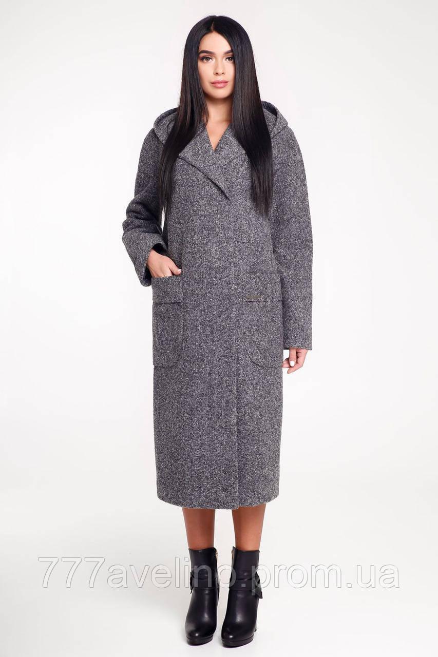 Пальто женское демисезонное с капюшоном модное