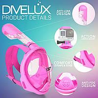 Детская полнолицевая маска для подводного плавания,снорклинга и ныряния,XS pink
