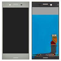 Дисплей (экран) для Sony F8342 Xperia XZ1 Dual с сенсором (тачскрином) серебристый Оригинал