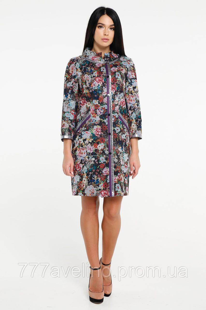 Плащ женский пальто модное с цветочным принтом