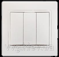 Выключатель трехклавишный серия BOLERO (белый) ВК03-00-0-ББ IEK