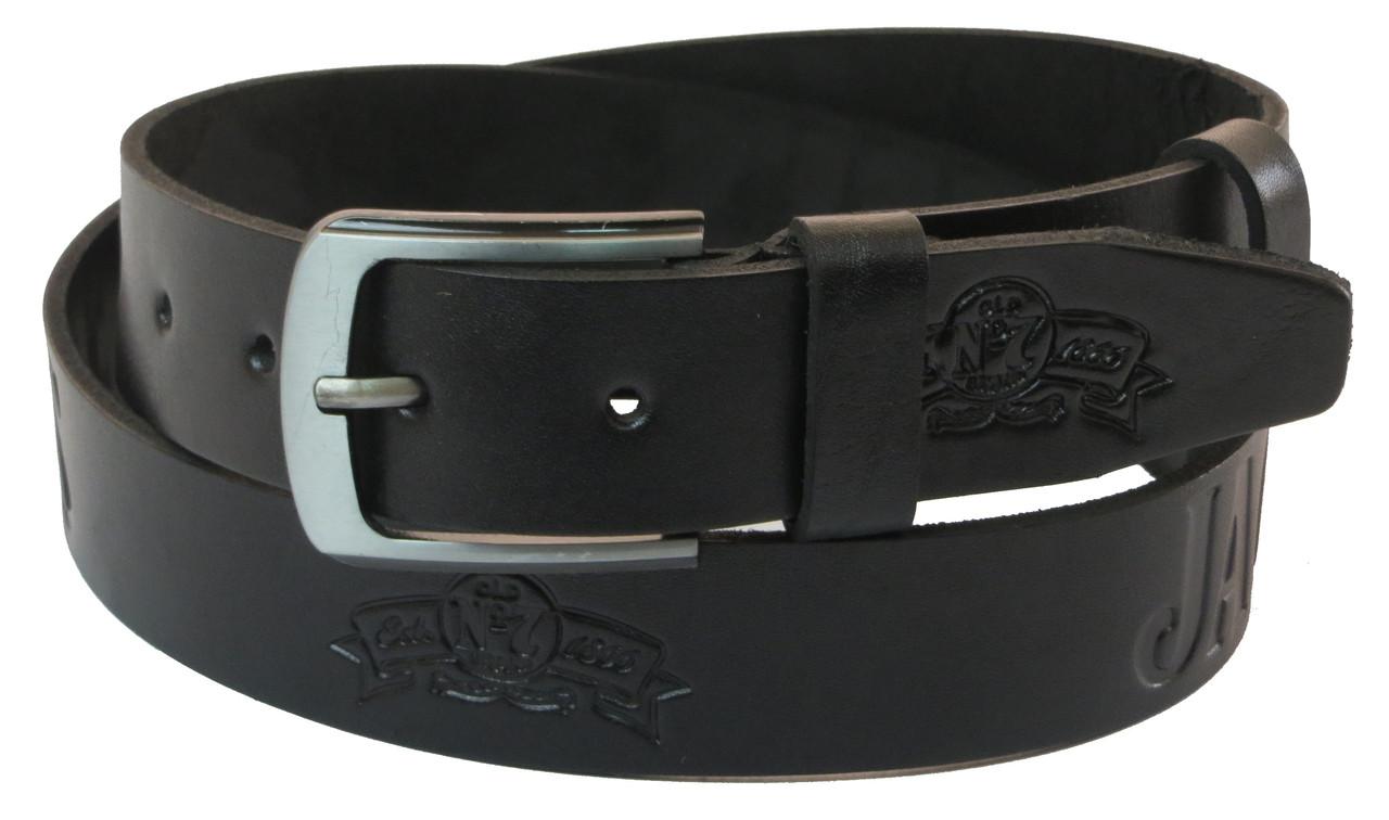 Мужской кожаный ремень под джинсы Skipper 1062-38 черный 3,8 см