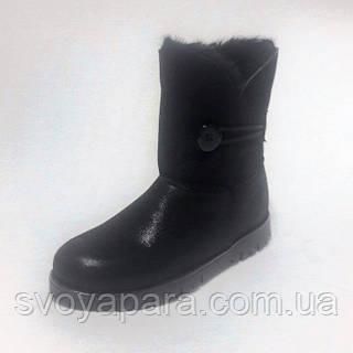 Сапоги угги женские зимние черные замшевые с шерстяной подкладкой на плоской подошве