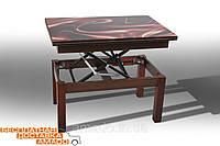 Стол-трансформер Флай (со стеклом) темный орех Микс мебель