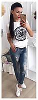 Модная женская футболка с накаткой в виде эмблемы Balmain Paris 42-46 р